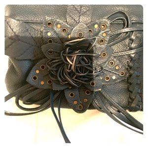 Handbags - Blue flower leather clutch